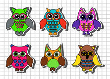 Cartoon owls Stock Photos