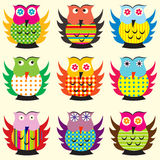 Cartoon owls set Stock Photography