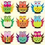 Cartoon owls set Stock Photography