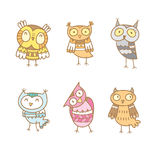Cartoon owls set. Cartoon cute colorful owls set. Six little funny forest birds. Children's illustration. Vector contour image Royalty Free Stock Photography