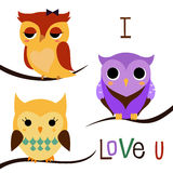 Cartoon owls set Royalty Free Stock Photography