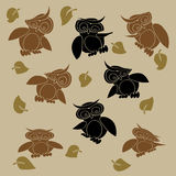 Cartoon owls set vector illustration Royalty Free Stock Photo