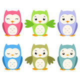 Cartoon Owls. Vector illustration of a set of whimsical cartoon owls Royalty Free Stock Images