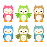 Cartoon Owls. Vector illustration of a set of whimsical cartoon owls Stock Image