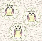 Cartoon owls. Vector seamless pattern  with cartoon baby owls Stock Photo