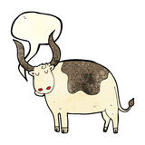 Cartoon ox with speech bubble Royalty Free Stock Photo
