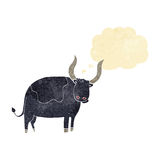 Cartoon ox with thought bubble Royalty Free Stock Photos