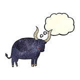 Cartoon ox with thought bubble Royalty Free Stock Photography