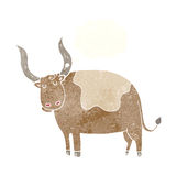 Cartoon ox with thought bubble Royalty Free Stock Images