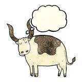 Cartoon ox with thought bubble Royalty Free Stock Photo