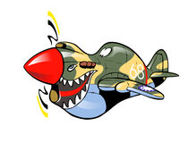 Cartoon P-40 warhawk. Cartoon style caricature of famous ww2 plane Curtiss P-40 warhawk Royalty Free Stock Images