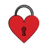 Cartoon padlock shaped heart loved Royalty Free Stock Photo