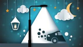 Cartoon paer landscape. Street lamp, bulb, light, car, cloud, moon. Royalty Free Stock Images