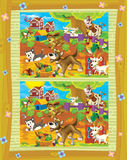 Cartoon page with differences - farm scene Royalty Free Stock Photography