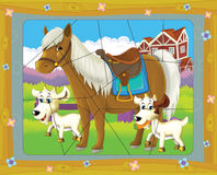 Cartoon page with differences - farm scene Stock Images