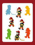 Cartoon page with different firemen at work game with shapes. Beautiful and colorful illustration for the children - for different usage - for fairy tales Royalty Free Stock Image