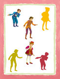 Cartoon page with medieval characters king prince or servant game with shapes. Beautiful and colorful illustration for the children - for different usage - for Stock Photography