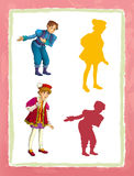 Cartoon page with medieval characters king prince or servant game with shapes. Beautiful and colorful illustration for the children - for different usage - for Stock Images