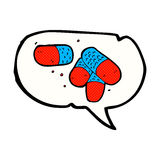 Cartoon painkillers with speech bubble Royalty Free Stock Photography