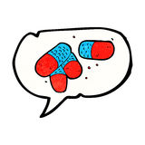 Cartoon painkillers with speech bubble Stock Image