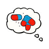 Cartoon painkillers with thought bubble Royalty Free Stock Images