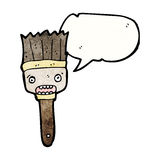 Cartoon paintbrush with speech bubble. Retro cartoon with texture. Isolated on White Stock Images