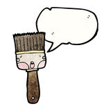 Cartoon paintbrush with speech bubble Stock Photo