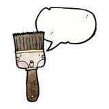 Cartoon paintbrush with speech bubble. Retro cartoon with texture. Isolated on White Stock Photo