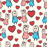 Cartoon painted lovers boy and girl with heart seamless pattern Stock Images