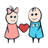 Cartoon painted lovers boy and girl with heart on a white background.  Royalty Free Stock Photo