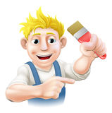 Cartoon painter or decorator. Holding a paintbrush and pointing with his finger Royalty Free Stock Photography