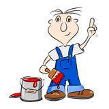 A cartoon painter handyman Royalty Free Stock Image