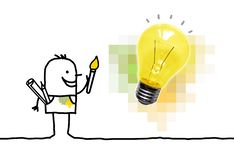 Cartoon Painter Having a New Idea with Light Bulb vector illustration