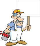Cartoon painter holding a sign. Stock Image
