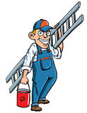 Cartoon painter with a ladder and paint bucket Stock Images