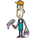 Cartoon Painter with a Paint Brush Royalty Free Stock Images