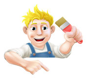 Cartoon painter pointing down at banner Stock Images