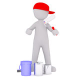 Cartoon Painter in Red Cap with Cans and Roller. Generic Gray 3d Cartoon Figure Wearing Red Cap and Holding Paint Roller While Standing in front of White Royalty Free Stock Image