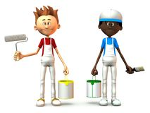 Cartoon painters holding paint cans. Royalty Free Stock Image