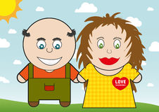 Cartoon pair in love Royalty Free Stock Image