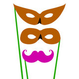 Cartoon pair of masks for masquerade costumes. Flat icon set. The vector illustration for ui, web games, tablets, wallpapers, and Royalty Free Stock Photos