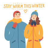 Cartoon pair in winter clothes illustration Stock Photography