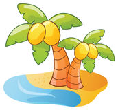 Cartoon palm tree. Cartoon island and palm tree, vector illustration Stock Image