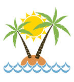 Cartoon of palm tree on a small island, vector  Royalty Free Stock Image