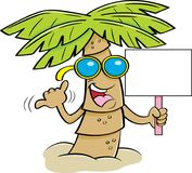 Cartoon palm tree wearing sunglasses and holding a sign. Royalty Free Stock Photos
