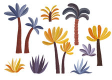 Cartoon palm trees set. Stock Photo