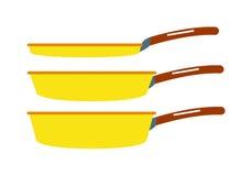 Cartoon pan cooking steel home kitchen equipment pot vector illustration. Stock Photos