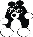 Cartoon panda. The cartoon vector black isolated illustration of panda - toy, pet Stock Photography