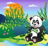 Cartoon panda in bamboo forest vector illustration