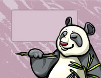 Cartoon panda and bambpoo leaves Royalty Free Stock Image